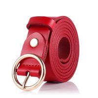 Autumn Spring y Lady Circle Pin Hebilla Fina Versión coreana Simple Slim Fit Cielo puro Cinturón de cuero Cintura 3J39