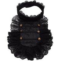 로리타 레이스 거짓 칼라 이동식 빅토리아 블랙 Pleated Steampunk 극적인 의상 액세서리 롤 플레잉 넥 넥타이