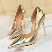 size 34 to 43 sexy bridesmaid wedding shoes gold silver metal high heel designer pumps prom gown dress shoes 80870