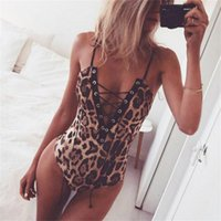 Bras Sets Leopard Print Solid Color Body Sculpting Lace-Up Breast Support One-Piece Underwear Women's Deep V Sling Sexy Lingerie Suit