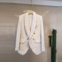 Women's Jackets Autumn And Winter Luxury Turn-Down Collar Tweed Small Fragrance Coat Round Neck Double-Breasted Women Jacket Female