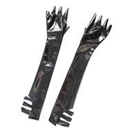 خمسة أصابع قفازات امرأة لامعة pvc اللاتكس فو الجلود gauntlet الجوف خارج خادمة الجنس جذابة مثليه طويل القفاز تأثيري ازياء luvas