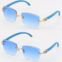 Nova Madeira azul sem aro c decoração vintage óculos de sol quente quadrado rosto rosto cinzelando lente unisex condução óculos 18k moldura de metal ouro eyewear masculino