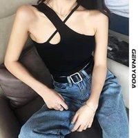 Genayooa вязаные без рукавов Halter Tops для женщин Sexy Backbloe Cross Crosseed Feminino Top Streetwear 2021 летние корейские женские танки