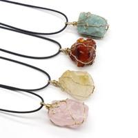 Collares colgantes Reiki Stone Natural Cuarzo Rock Rock Minal Crystal Amatistas Fluorite Rose Agates para mujer