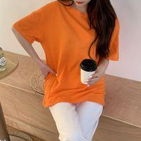 Women T-shirts Female Tees Top Summer Men Tshirt Fashion Drop Shoulder Short Sleeve Soft Cotton Solid Plain Lady Tops Child Women's T-Shirt