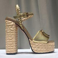 Sommer Designer Sandalen Frauen Schuh Mode Schnalle Weave Lafite Gras Patchwork Vorne Heckband Echtes Leder Sexy Heels Schuhe Damen Sandale Größe 35-41