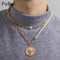 Trendy Asymmetric Portrait Coin Pendant Necklace Women Men Boho Multilayer Pearl Necklaces Geometric Choker Bijoux Goth Jewelry