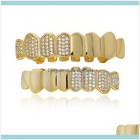 Grillz, Dental Grills Body Jewelry Jewelryhiphop Bling Real Gold Plated Color Poker Sign Crystal Diamond Teeth Grillz Caps Top & Bottom Gril
