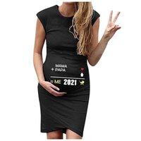 Maternity Sexy Solid Print Dresses Pregnant Women Summer Sleeveless Bodycon Round Neck Dress Vestidos Premama Embarazadas