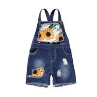 2-7Y أزياء الأطفال ملابس الصيف كيد طفلة عباد الشمس طباعة الدينيم وزرة بلا أكمام حزام السراويل بذلة الزي حللا