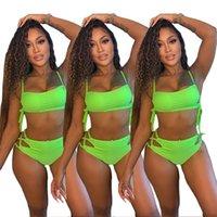 Women swimwear bikinis 2 piece set solid color sexy & club beachwear crop top underwear sweatsuit vest bra briefs outfits tops sleeveless knickers bodysuits 01253