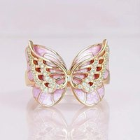 Cluster Rings MOONROCY Crystal Ring Rose Gold   Silver Color Party Wedding Butterfly Jewelry Wholesale For Women Girls Gift Drop