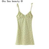Chu Sau Beauty Casual Chic Floral Print Sling Mini Vestido Mujeres Holiday Bow V-cuello Vestido Verano Sexy Inoportables Damas Vestidos