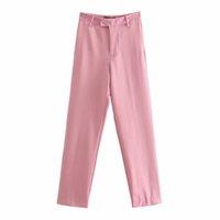 Pantaloni Vuwwyv donna Pantaloni rosa BAGGY LETTURA GAMBINA DEGLI UFFICHE DONNA Vita alta A larga Pant Fashion Streetwear Pantaloni per femmina 210430