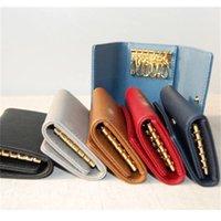الجملة مصمم مفتاح محفظة للرجال متعدد الألوان الجلود مصمم قصيرة محفظة ستة مفتاح حامل للنساء كلاسيك سستة جيب مفتاح سلسلة