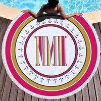 Stile alfabetico Stile rotondo Asciugamano da spiaggia Scialletto da solare Scialle Stampa Doccia Coperte da doccia circolare colorate Stuoie di yoga Bikini Sciarpa Asciugamani da sabbia HWD6372