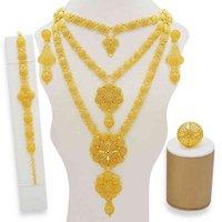 Ювелирные наборы Дубай Золотые ожерелье Серьги для женщин Африканская Франция Свадьба 24K Ювелирные изделия Эфиопия Свадебные подарки