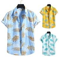 Homens Hawaiian Sets Impressão 2021 Verão Manga Curta Botão Camisa Beach Shorts Streetwear Casual Mens Terno 2 Peças S-XXL Camisas Masculinas
