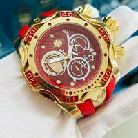 Venda Direta Invicta Luxo Marca Homens de Quartzo de Quartzo Exclusivo Design Red Silicone Strap Casual Moda Relógios Relógio Masculino