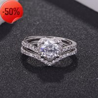 S925 Sterling Silver women's double-layer micro inlaid Fan Bingbing same style Li Chen's proposal ring for Valentine's Day gift