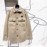 21SS 남성 디자이너 자켓 야구 금속 삼각형 라벨 편지 모직 헝겊 streetwear 코트 겉옷 두건이있는 남성 의류 코튼 그린 XS-L