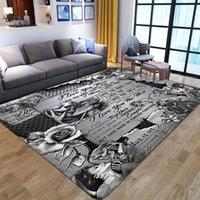카펫 공포 할로윈 doormats 3D 두개골 인쇄 깔개 주방 매트 북유럽 플란넬 홈 장식 거실 침실에 대형