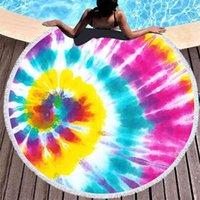 150-150см галстук-краска круглые пляжное полотенце с кисточками красочные унисекс ультра мягкие супер водопоглощающие одеяло большой микрофибр приморский душ банные полотенца GG424VT9