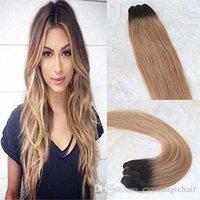 Реальные наращивания волос человеческие волосы ombre блондинка балаяж цвет # 2 темно-коричневый исчезновение на # 6 и # 27 медовые блондинки Remy наращивания волос