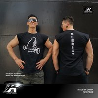 PKファッションブランドオリジナルスポーツマッスルティートレーニング純コットンTシャツハーフショルダースリーブストレッチフィットネスベストメンズサン