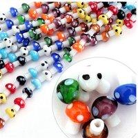 Dernier conçu Environ 40pcs / Lot Couleurs mélangées Couleurs Lampework Verre Perles de champignons DIY Bijoux Beads 10x12mm CN-BBC002 1948 Q2
