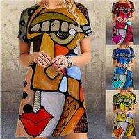 مصمم 2021 الصيف أزياء القمصان الفن طباعة كبيرة فضفاض اللباس بلوزة امرأة طباعة قمم للنساء الشيفون بالإضافة إلى الحجم