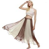 Lange Röcke Frauen Maxi Sommer Röcke Böhmischen Stil Damenschaukel Fließen Hohe Taille Ganzkörperansicht Chiffon Beach Rock1
