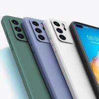 Original Square Soft Liquid Silicone Case For Y7A P Smart P40 Lite P30 P20 Mate 20 Pro 10i 20S 30 8X 9X Cover Mobile Phone Shell