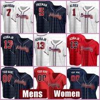 Mens Atlanta Women Braves Baseball Jersey 13 Ronald Acuna Jr. 사용자 정의 5 Fredddie Freeman 7 Dansby Swanson 1 Ozzie Almies 3 Dale Murphy Cheak