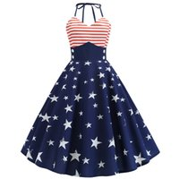Women Vintage Sleeveless Halter Dresses female Stripes Star print Evening Party Prom Dress Ladies High waist Swing midi Dress