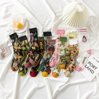 New Fashion Harajuku High Quality Creative Crystal Silk Tide Socks Sunflowers Vines Flowers Animal Fruit Glass Silk Women