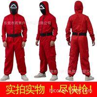 Игра Squid Игра Корейский фильм Ли Юнг Jae Mask Squid Костюм красный комбинезон COS костюм