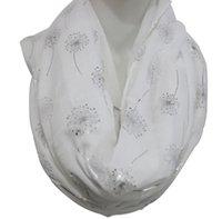 FoxMother 2020 Yeni Moda Kadın Beyaz Donanma Gri Parlak Bronzlaşan Gümüş Karahindiba Infinity Eşarp Bayan