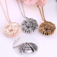 Vintage Letters Youre My Sunshine Engraved Open Locket Sunflower Pendant Necklace for Women Jewelry Gift Silver Gold