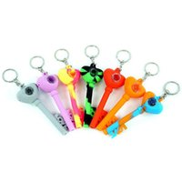 Wholesale Silicone Smoking Hand Pipe 4.2'' Love Key Chain Water Pipes Oil Rig Glass Bong 100 Pcs lot