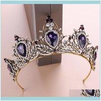 Headpieces , & Eventspurple Bridal Crown Rhinestone Crystals Wedding Royal Crowns Hair Aessories Party Tiaras Baroque Chic Sweet 16 Full Rou