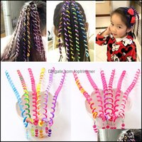 Bun Maker & Products6Pcs Rainbow Color Braiding Tools Girls Spiral Hairbands For Styling Hairstyle Elastic Headbands Hair Aessories Drop Del