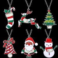 الأزياء سانتا كلوز شجرة عيد الميلاد / الجرس / الجوارب ثلج سيكا الغزلان المينا قلادة قلادة للنساء الفتيات كريستمن مجوهرات هدية