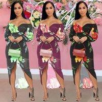 Off The Shoulder Floral Print Party Dress Women Slash Neck Long Sleeve Clubwear Vestidos Elegant Front High Split Robe Femme