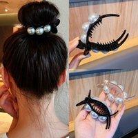 Barrettes Hairpin Korean Pearl Grip Clip Black Hair Binding Back of Head Simple Temperament Ball Net Red High Horsetail