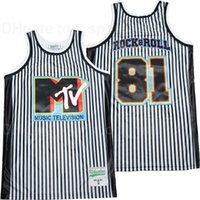 Music Television MTV 81 Rock Roll Jersey Hombres Baloncesto Raya Color blanco Equipo Bordado y costura Pure Algodón Transpirable Uniforme deportivo
