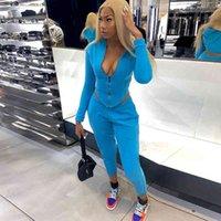 Frauen Baumwolle Solide Trainingsanzüge Matching Sets Full Sleeve Reißverschluss Tops + Hosen Outfits Mode Fitness Casual Zwei Stück Sportset