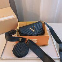 Womens Wave Multis Umhängetasche Crossbody Hohe Qualität Leder Big V Logo Damen Klassische Vintage Handtasche
