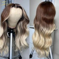 Body Wave Colored 613 Blonde Human Hair Wig Preplucked Brown Ombre 13X6 Lace Front Wigs For Black Women Full Frontal Highlight1